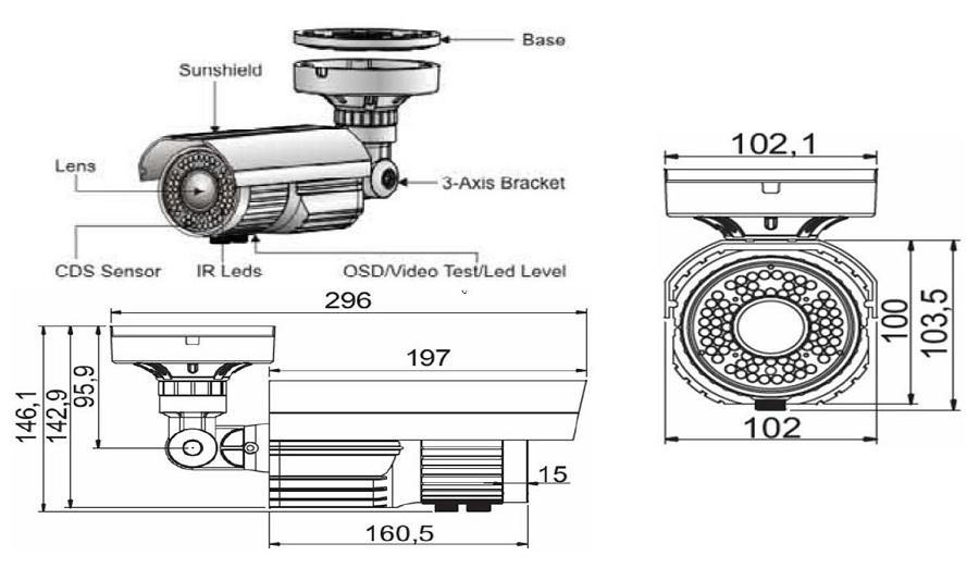 industrial grade 720p varifocal ir security camera