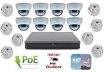 IP Surveillance Package with 16 Channel PoE NVR and 8 Dome Cameras