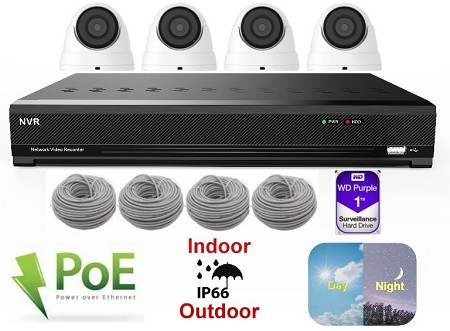 4 Channel 5MP IP Dome Camera System