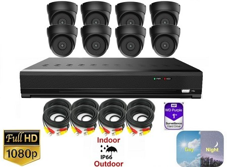 8 Channel 1080p Black Dome Surveillance Package