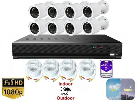 8 Channel 1080p Bullet Camera Surveillance System