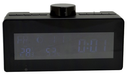 Covert Wi-Fi Camera Weather Clock Radio with Rotating Lens